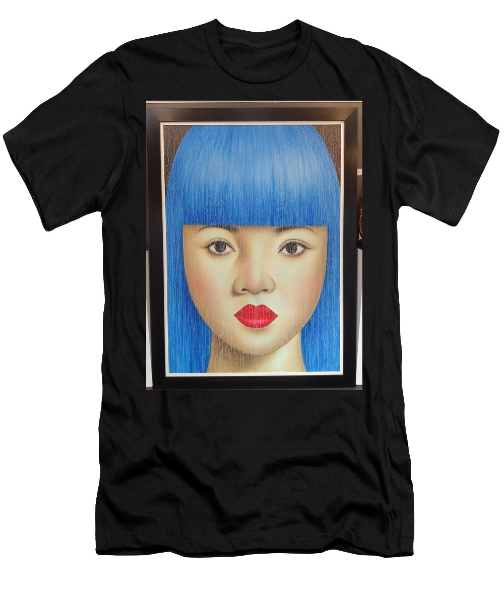 Blue Men's T-Shirt (Athletic Fit) featuring the painting Blue Dream 78x55 by Roni Mashiah
