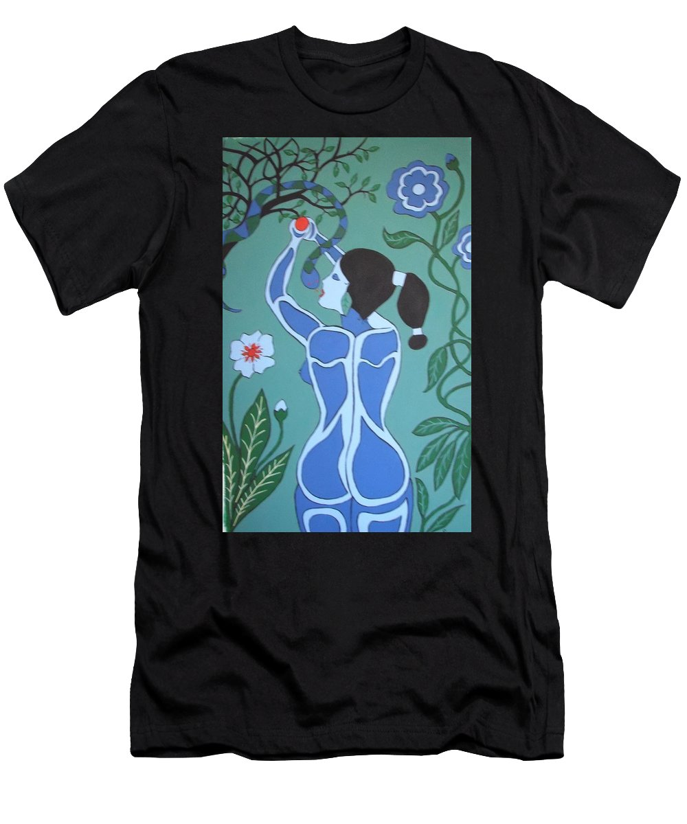 Eve Men's T-Shirt (Athletic Fit) featuring the painting Blue Eve No. 1 by Stephanie Moore