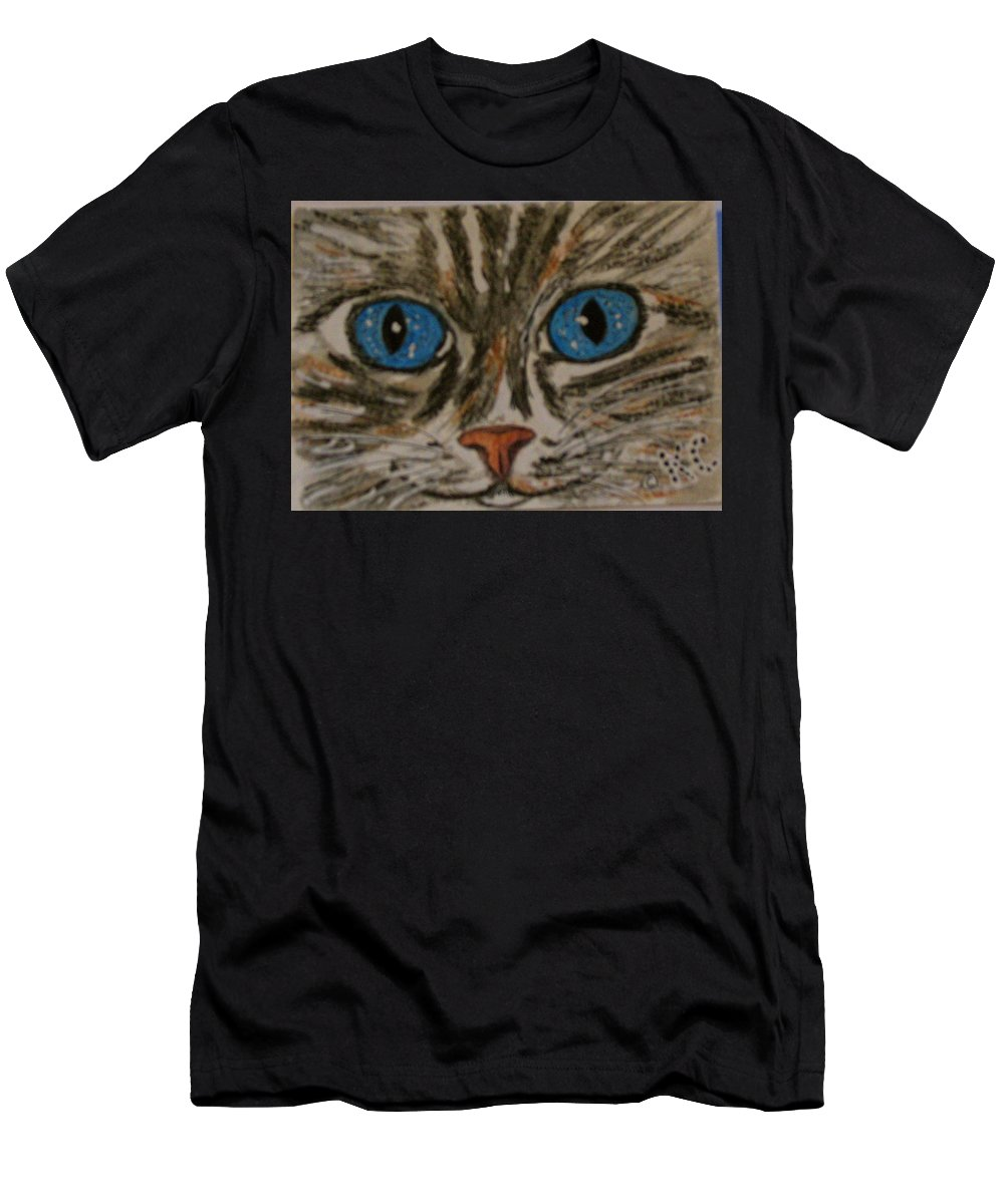 Blue Eyes T-Shirt featuring the painting Blue Eyed Tiger Cat by Kathy Marrs Chandler