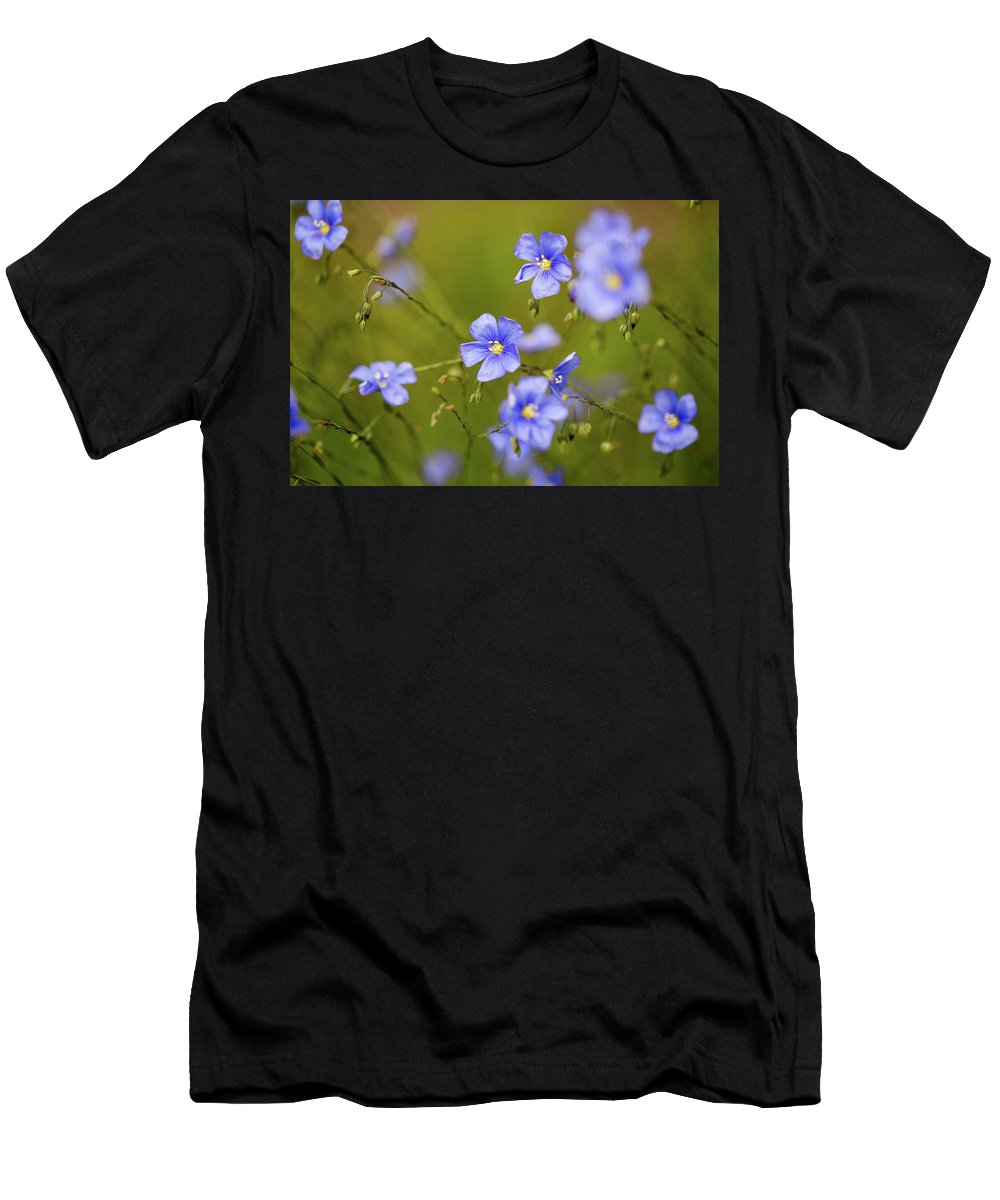 Crested Butte Men's T-Shirt (Athletic Fit) featuring the photograph Blue Flax by Meagan Watson