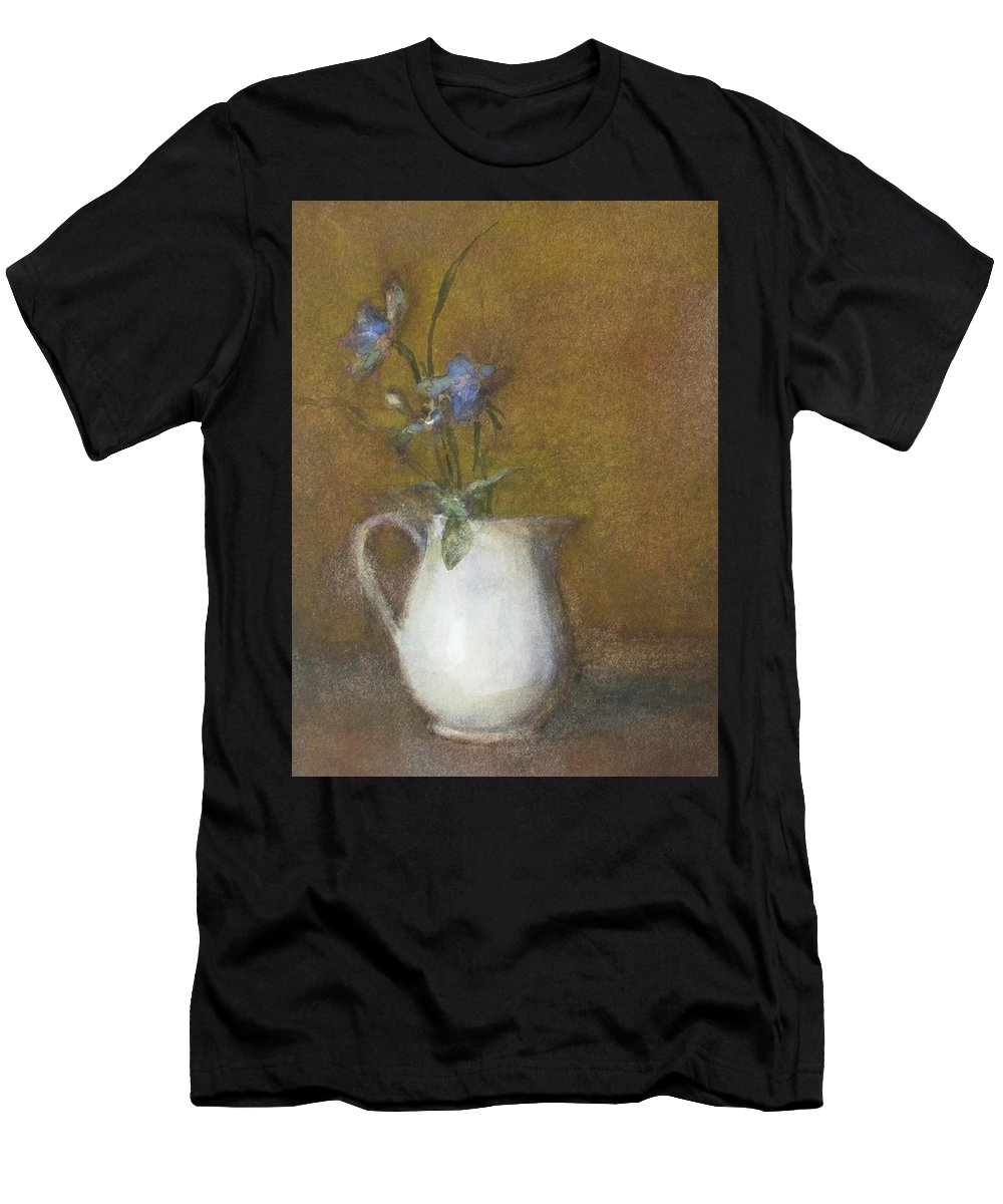 Floral Still Life Men's T-Shirt (Athletic Fit) featuring the painting Blue Flower by Joan DaGradi