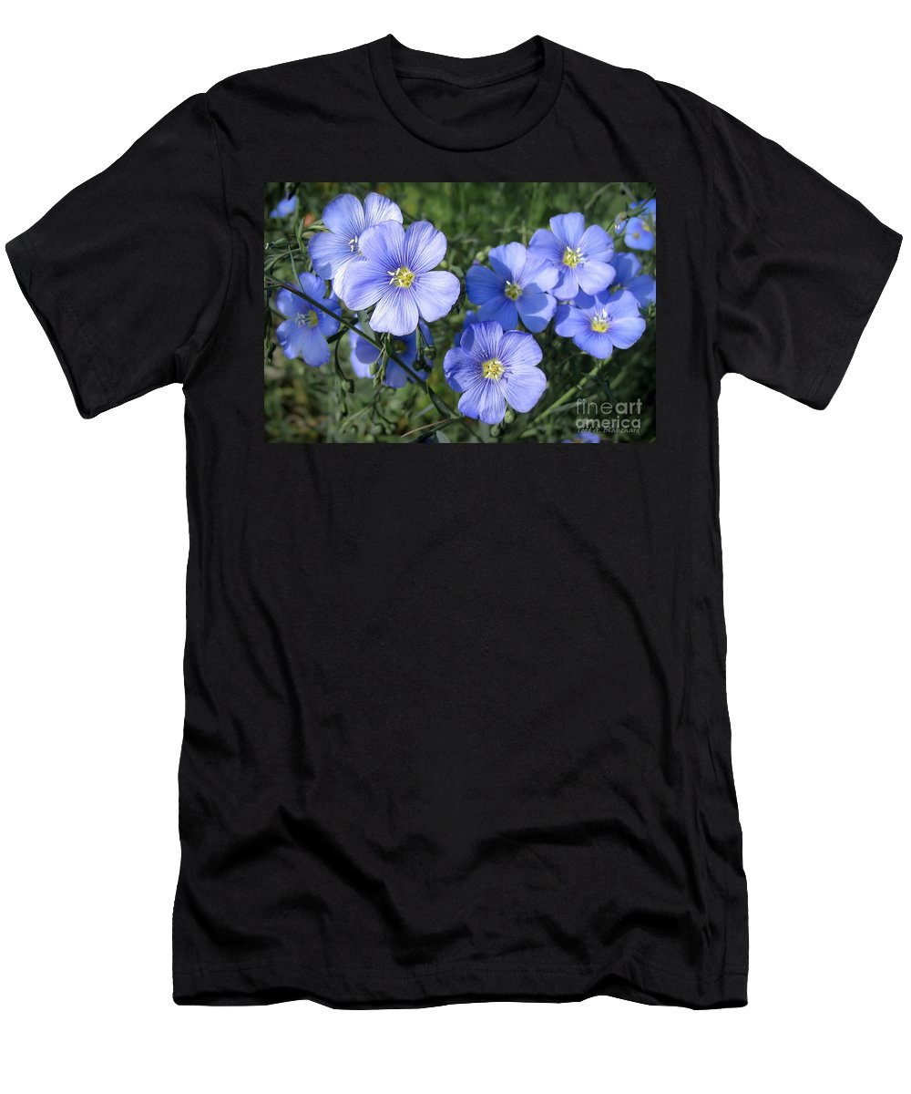 Flowers Men's T-Shirt (Athletic Fit) featuring the photograph Blue Flowers In The Sun by Todd Blanchard