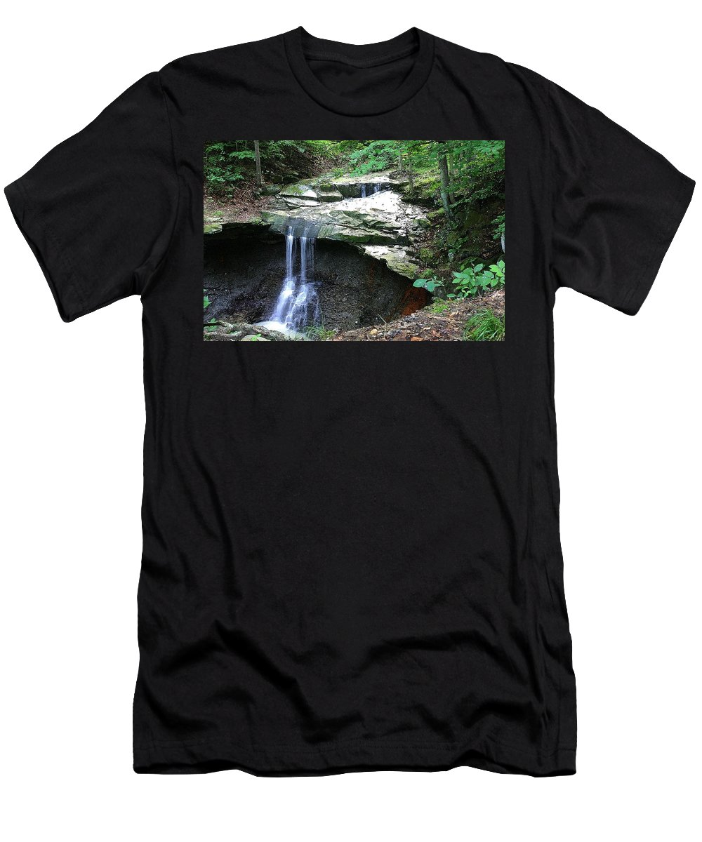 Waterfall. Water Men's T-Shirt (Athletic Fit) featuring the photograph Blue Hen Falls by Nelson Strong