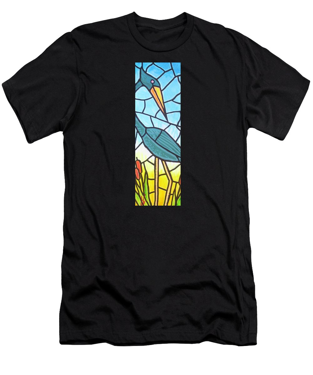 Heron Men's T-Shirt (Athletic Fit) featuring the painting Blue Heron by Jim Harris