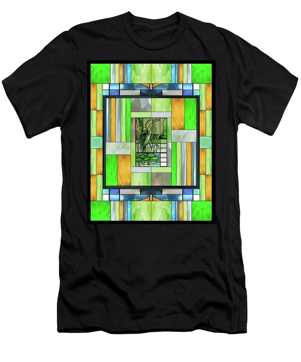 Blue Heron Men's T-Shirt (Athletic Fit) featuring the mixed media Blue Heron Stained Glass by Ellen Henneke