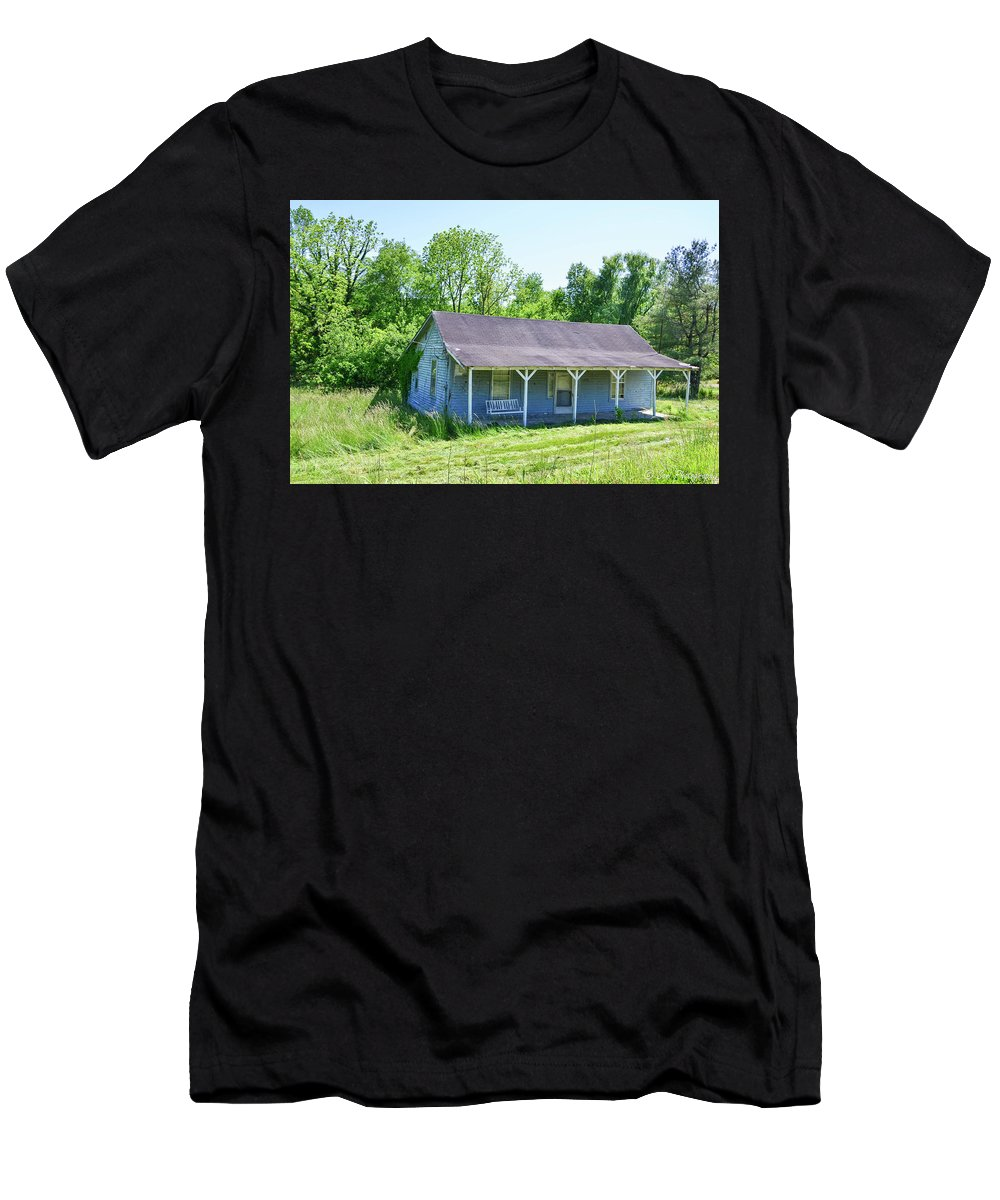 Grass Men's T-Shirt (Athletic Fit) featuring the photograph Blue House by Soni Macy