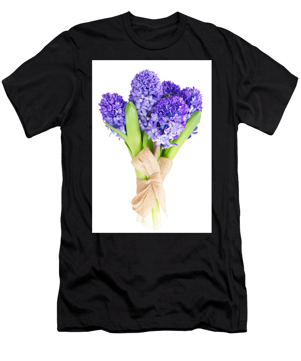 Blue Men's T-Shirt (Athletic Fit) featuring the photograph Blue Hyacinth by Anastasy Yarmolovich