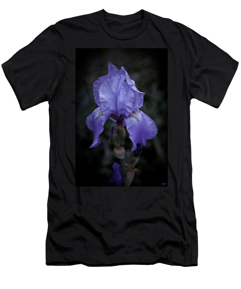 Iris Men's T-Shirt (Athletic Fit) featuring the photograph Blue Iris by Chris Lord