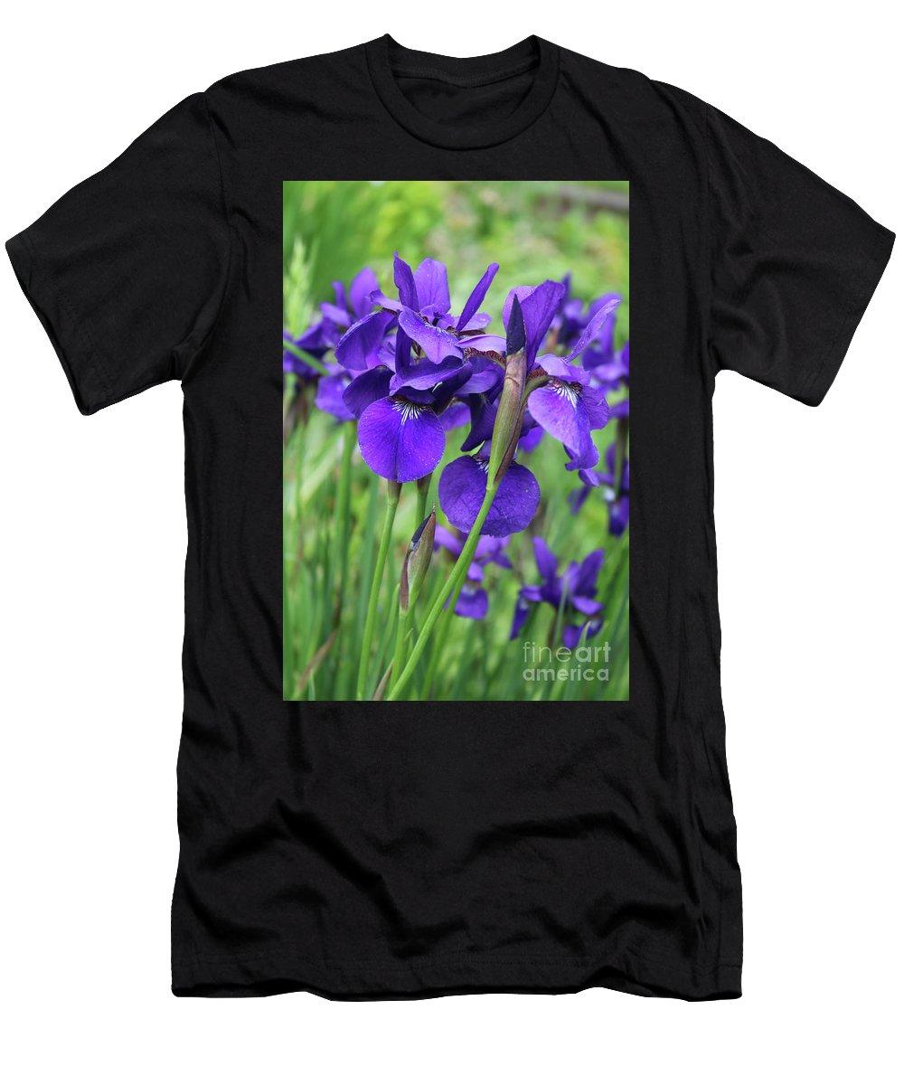 Irises Men's T-Shirt (Athletic Fit) featuring the photograph Blue Irises by Carol Groenen