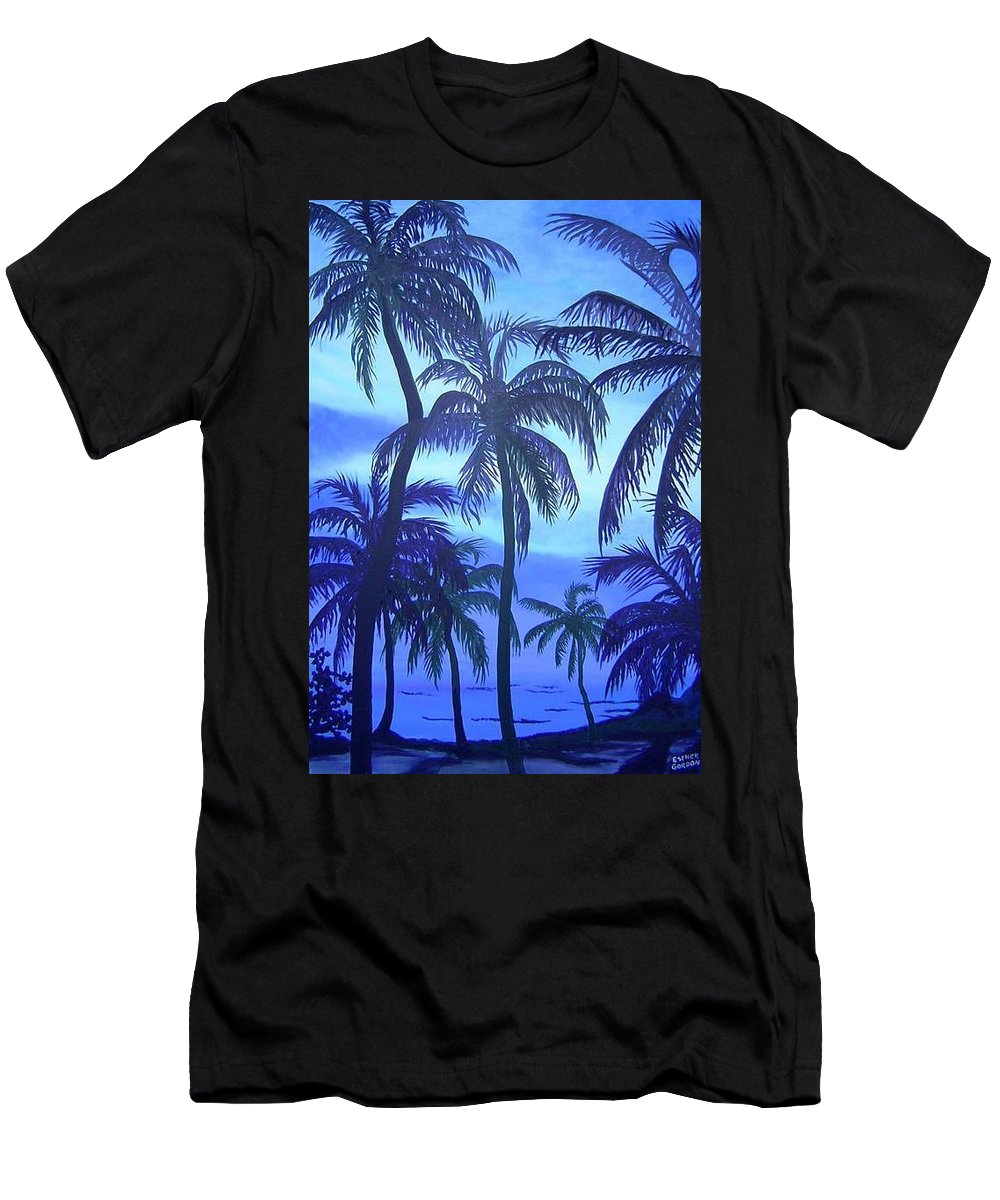 Belize Men's T-Shirt (Athletic Fit) featuring the painting Blue Lagoon by Esther Gordon