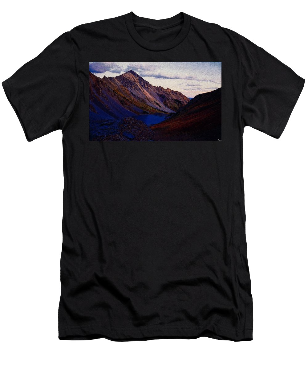 Art Men's T-Shirt (Athletic Fit) featuring the painting Blue Lake by David Lee Thompson