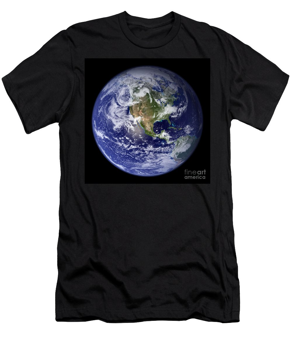 Earth Men's T-Shirt (Athletic Fit) featuring the photograph Blue Marble Earth, North America by Science Source