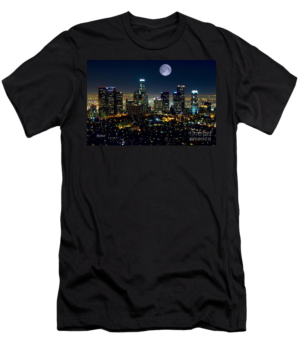 L.a. City Men's T-Shirt (Athletic Fit) featuring the mixed media Blue Moon Over L.a. by Garland Johnson