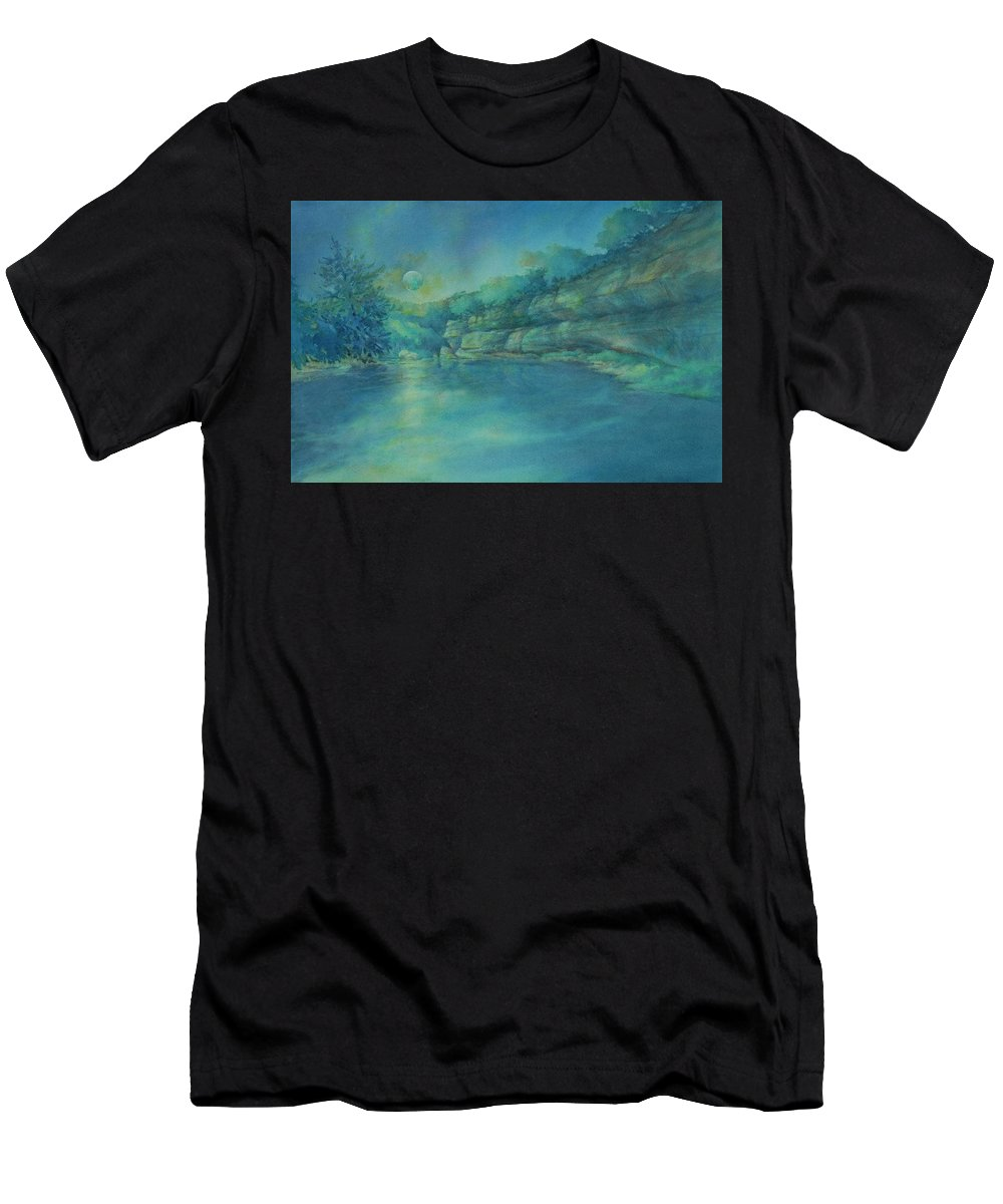 Watercolor T-Shirt featuring the painting Blue Moon Over The Guadalupe by Virgil Carter