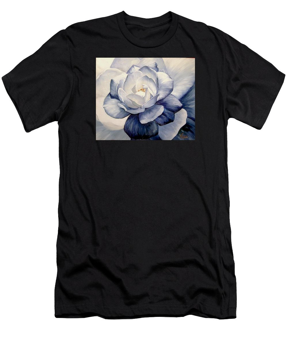 Flower Macro Nature Blue Gardenia Men's T-Shirt (Athletic Fit) featuring the painting Blue by Natalia Tejera