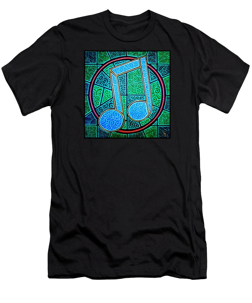 Music Men's T-Shirt (Athletic Fit) featuring the painting Blue Note by Jim Harris