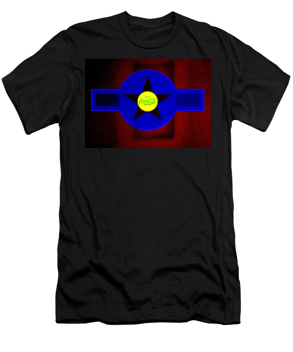 Label T-Shirt featuring the painting Blue on Red by Charles Stuart
