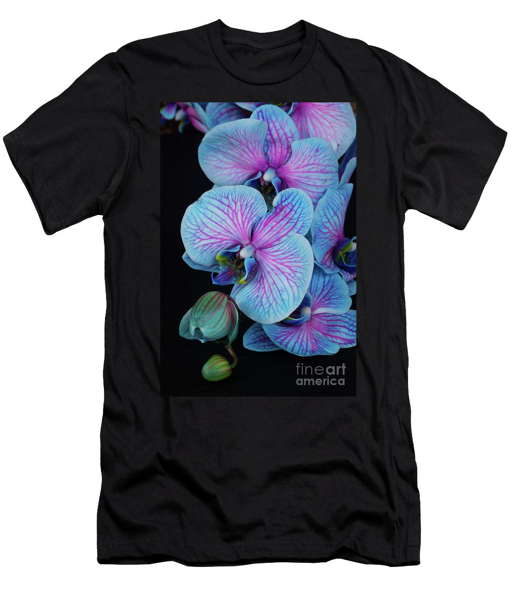Flower Men's T-Shirt (Athletic Fit) featuring the photograph Blue Orchid On Black by Anastasy Yarmolovich