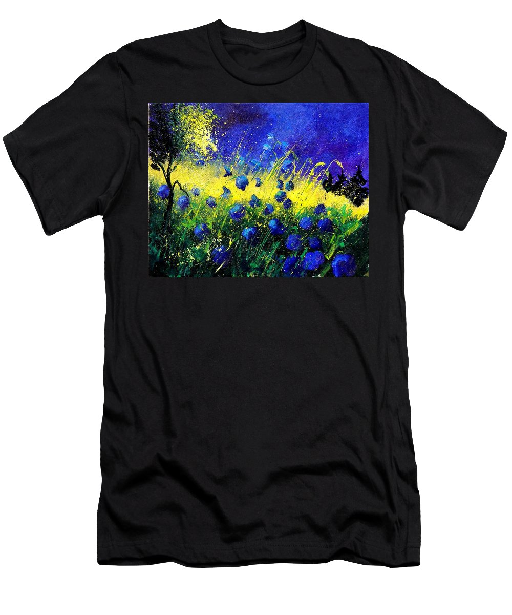 Flowers Men's T-Shirt (Athletic Fit) featuring the painting Blue Poppies by Pol Ledent