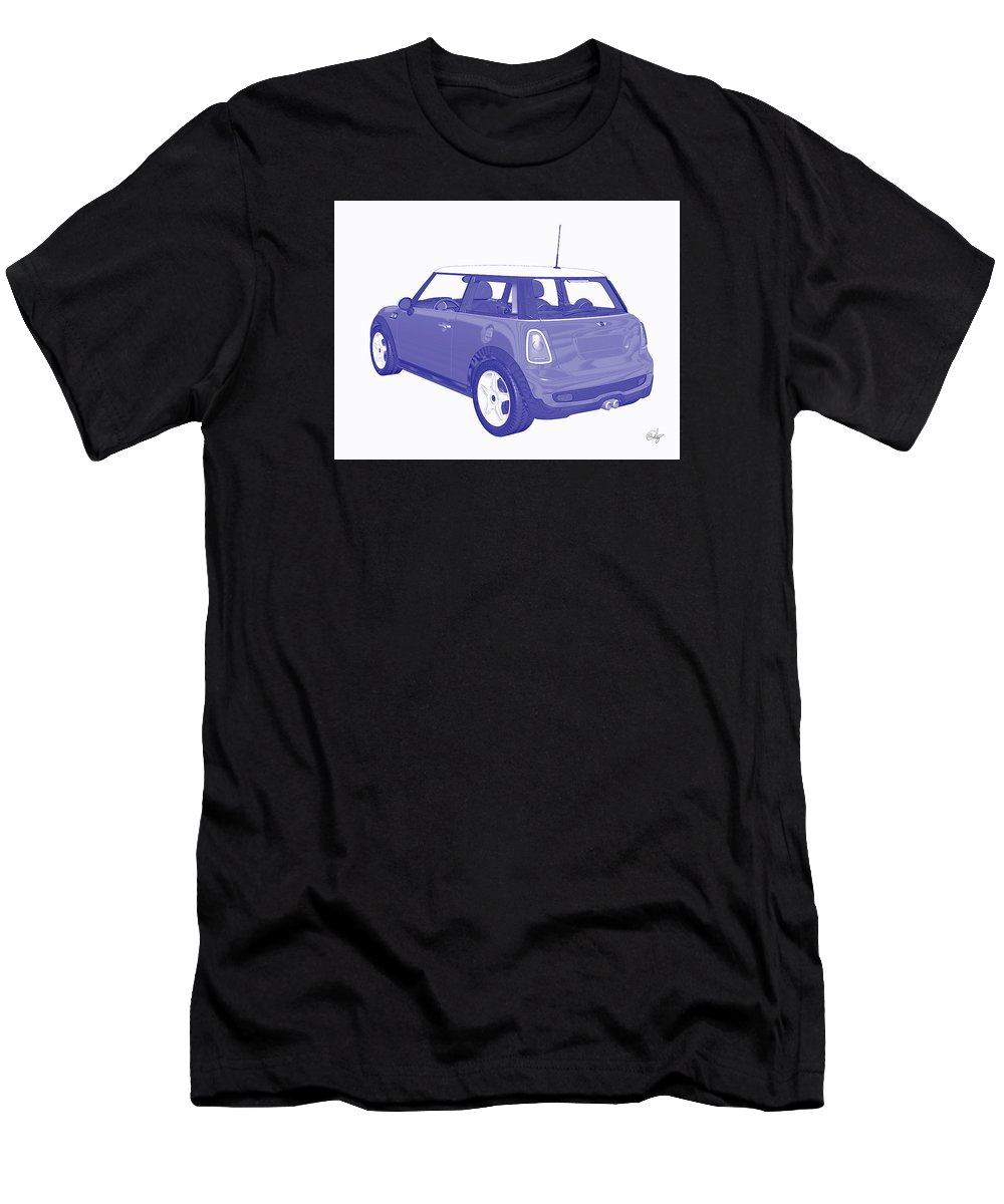 Automobile Men's T-Shirt (Athletic Fit) featuring the mixed media Blue Print Mini by Edier C