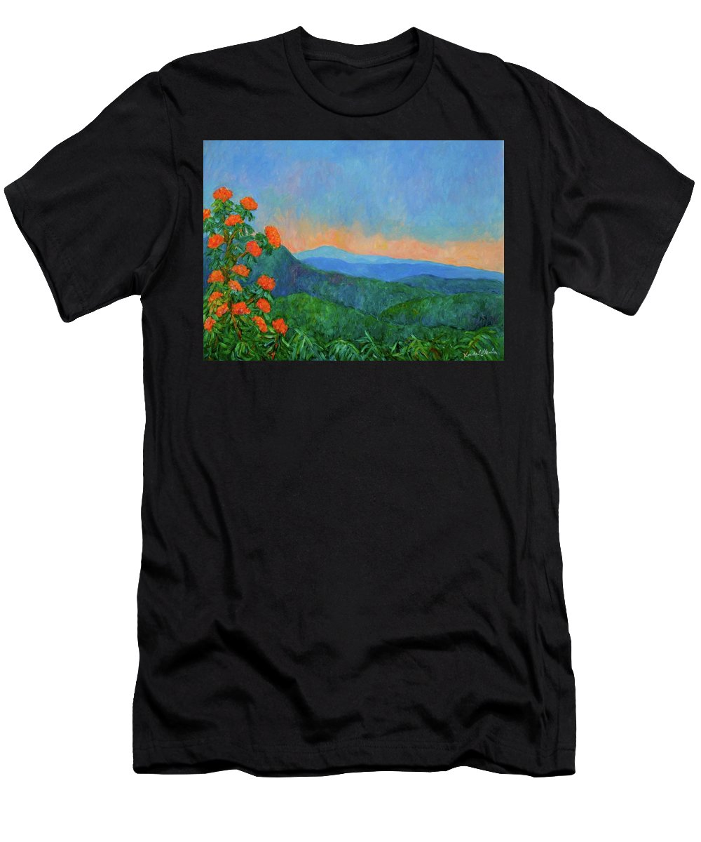 Kendall Kessler Men's T-Shirt (Athletic Fit) featuring the painting Blue Ridge Morning by Kendall Kessler