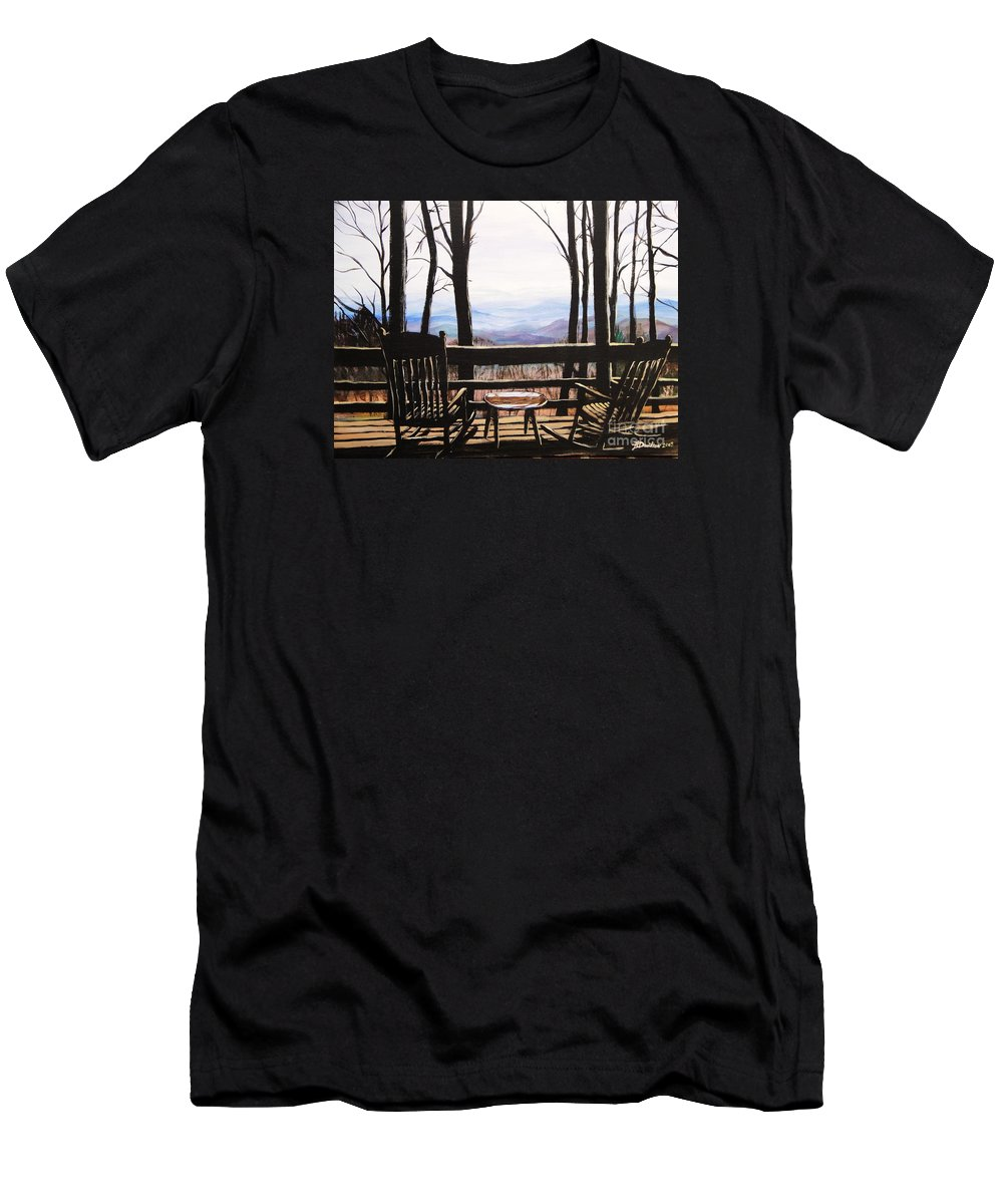 North Carolina Men's T-Shirt (Athletic Fit) featuring the painting Blue Ridge Mountain Porch View by Patricia L Davidson