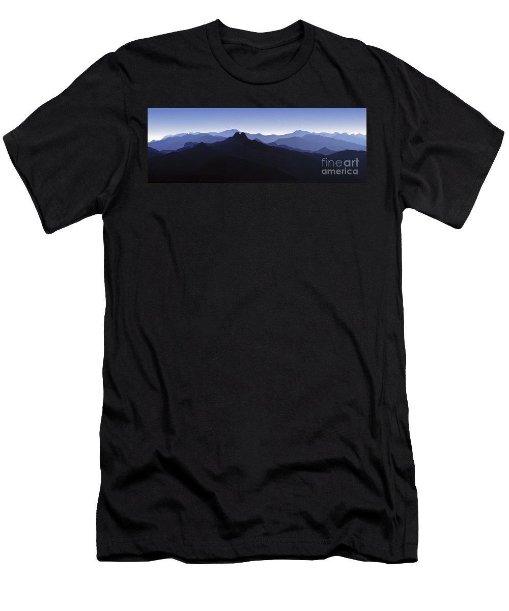 Blue Ridge Mountains Men's T-Shirt (Athletic Fit) featuring the photograph Blue Ridge Mountains. Pacific Crest Trail by David Zanzinger