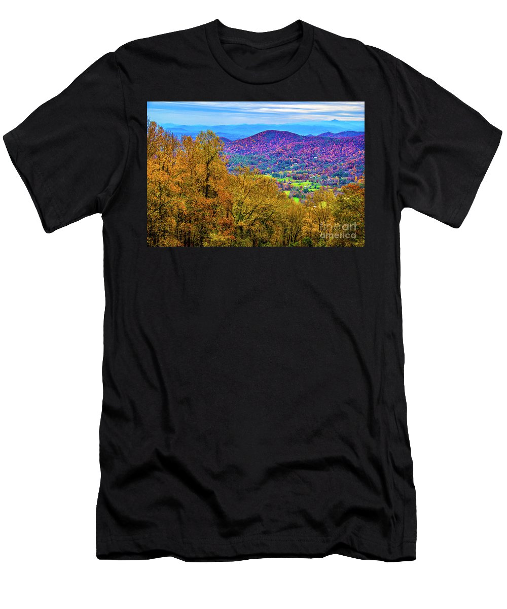 Autumn Leaves Men's T-Shirt (Athletic Fit) featuring the photograph Blue Ridges by Roberta Bragan