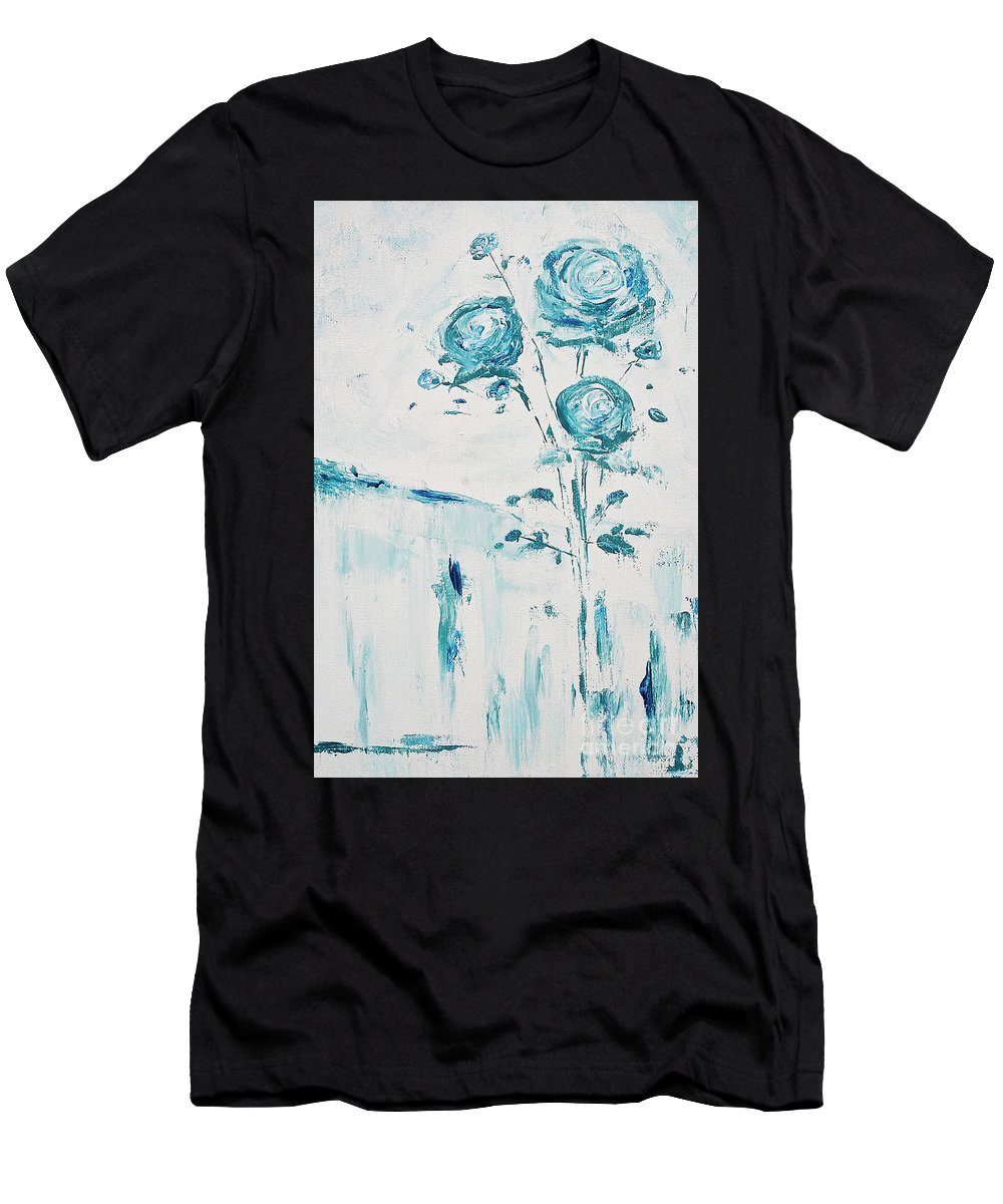 Flowers Men's T-Shirt (Athletic Fit) featuring the painting Blue Roses On A Table by Angelina Cornidez