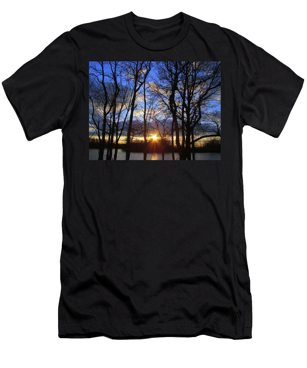Sunset Men's T-Shirt (Athletic Fit) featuring the photograph Blue Skies And Golden Sun by J R Seymour