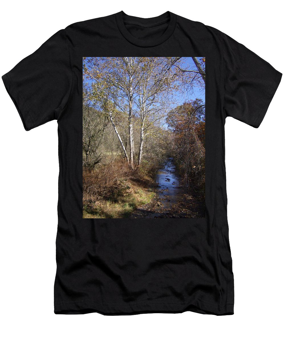 Stream Men's T-Shirt (Athletic Fit) featuring the photograph Blue Skies by Leslie Manley