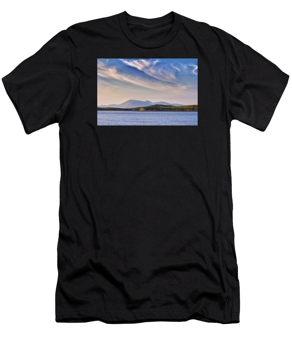 Blue Sky Men's T-Shirt (Athletic Fit) featuring the photograph Blue Sky Over The Bay by Frank Fullard