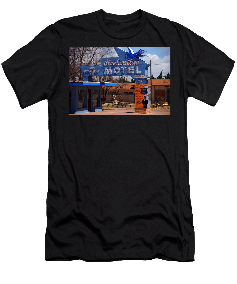 Route 66 T-Shirt featuring the photograph Blue Swallow Motel on Route 66 by Susanne Van Hulst