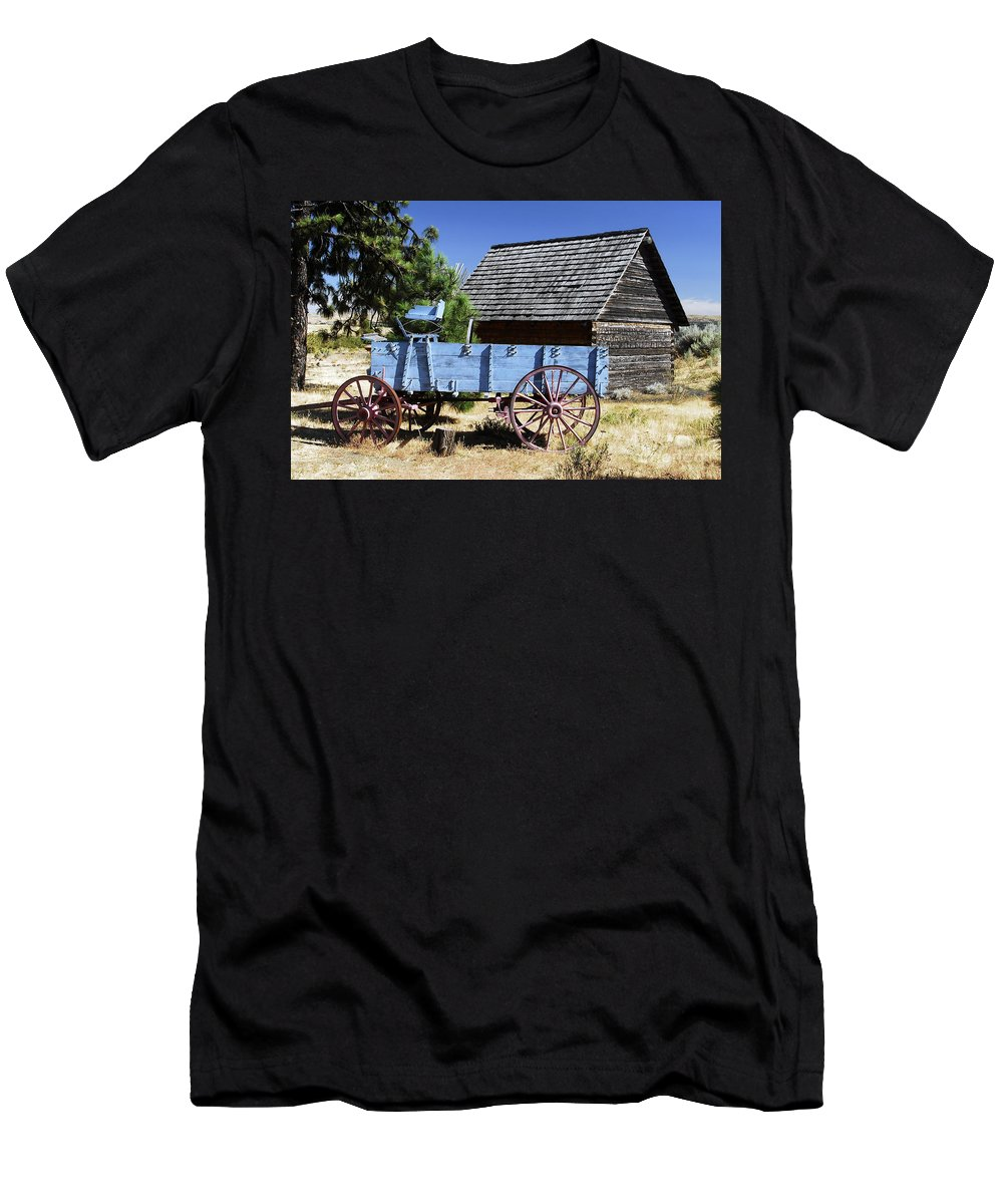 Wagon Men's T-Shirt (Athletic Fit) featuring the photograph Blue Wagon by David Lee Thompson