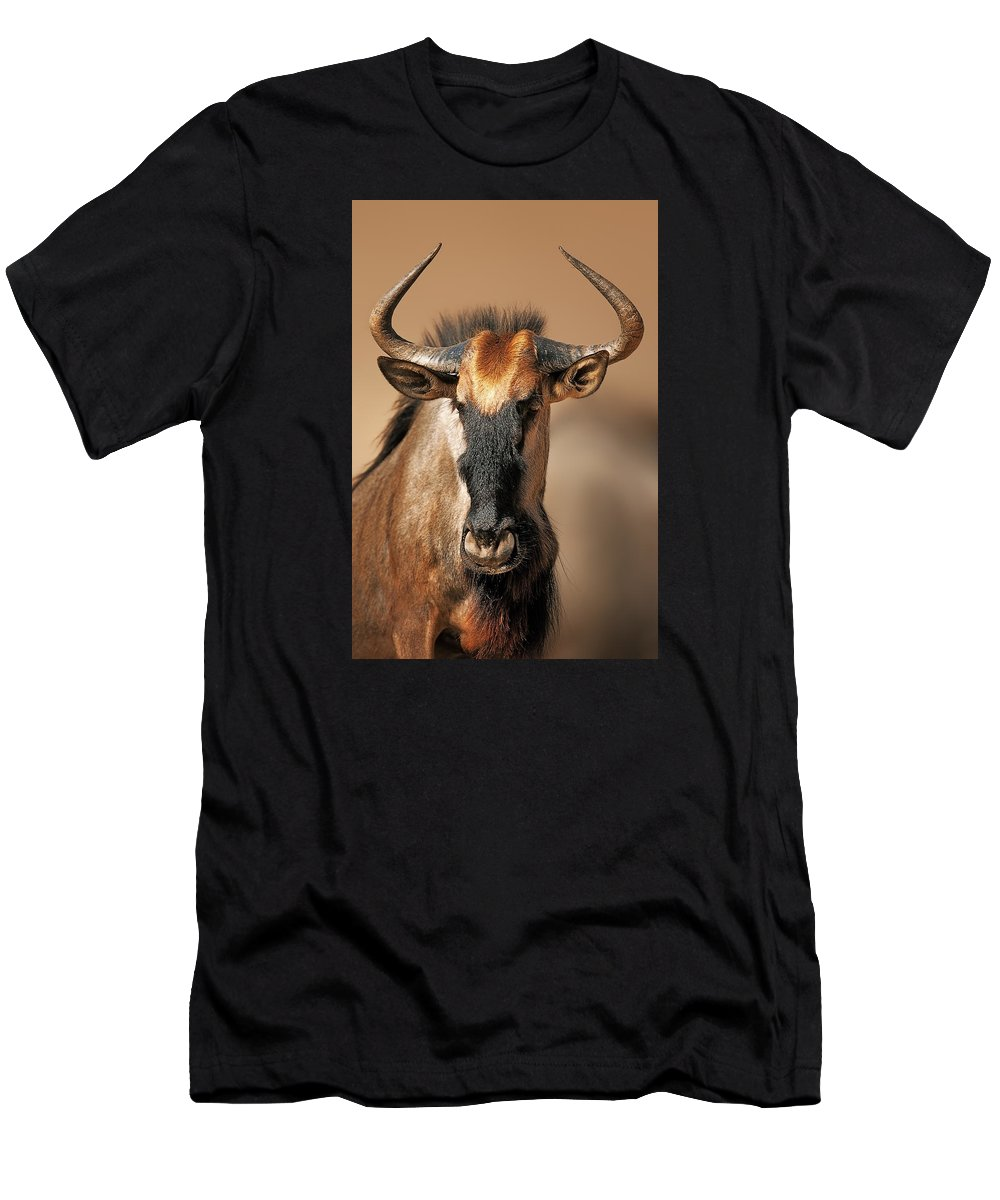 Wildebeest Men's T-Shirt (Athletic Fit) featuring the photograph Blue Wildebeest Portrait by Johan Swanepoel