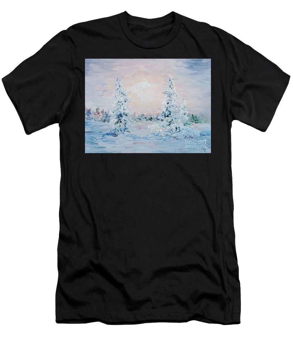 Landscape Men's T-Shirt (Athletic Fit) featuring the painting Blue Winter by Nadine Rippelmeyer