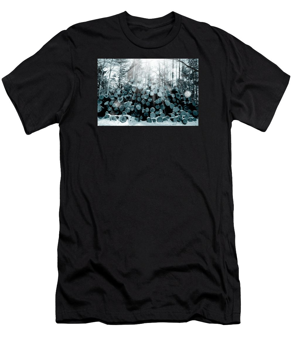 Forest Men's T-Shirt (Athletic Fit) featuring the photograph Blue Wood by Mark Ashkenazi