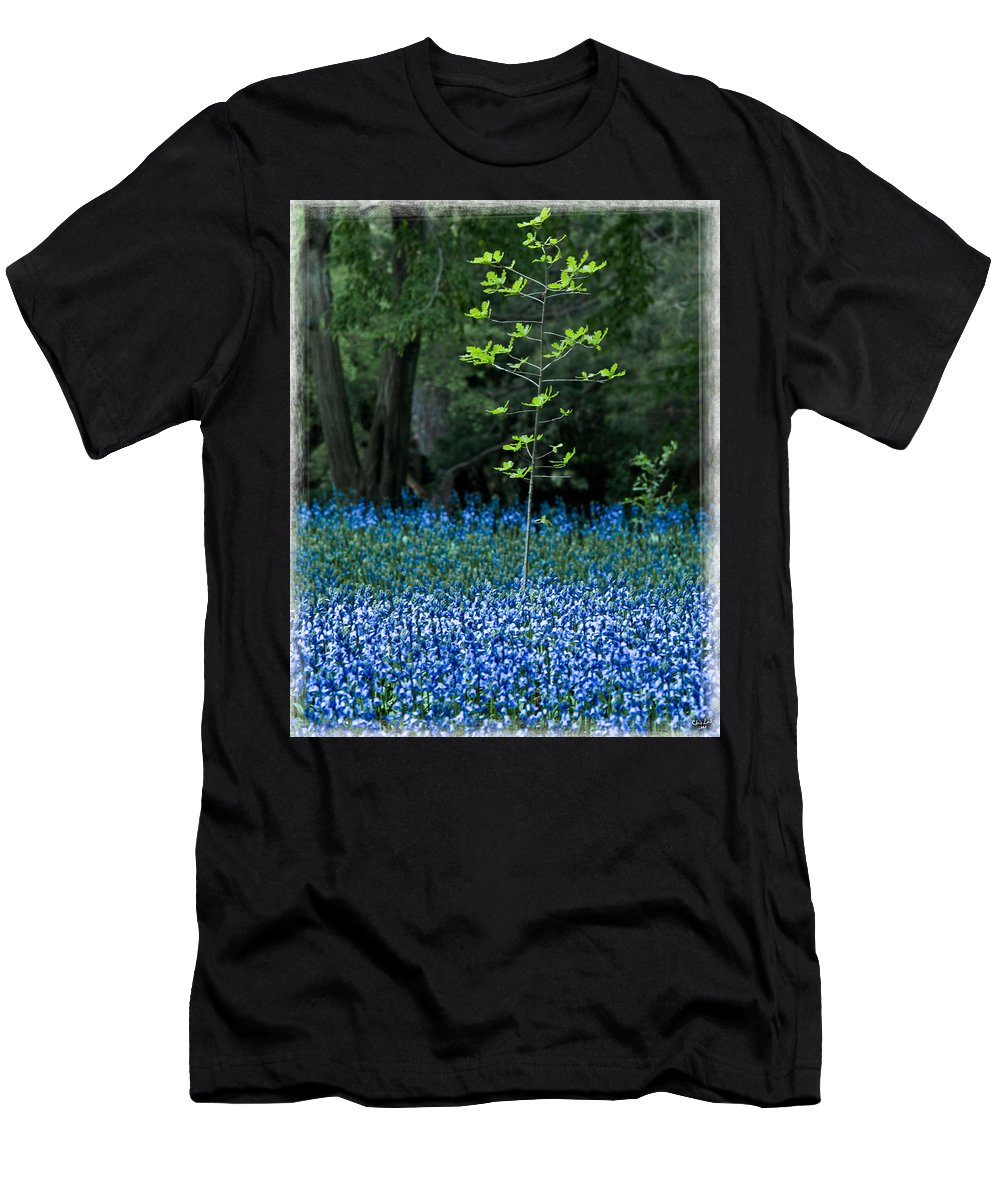 Bluebell Men's T-Shirt (Athletic Fit) featuring the photograph Bluebell Woods by Chris Lord