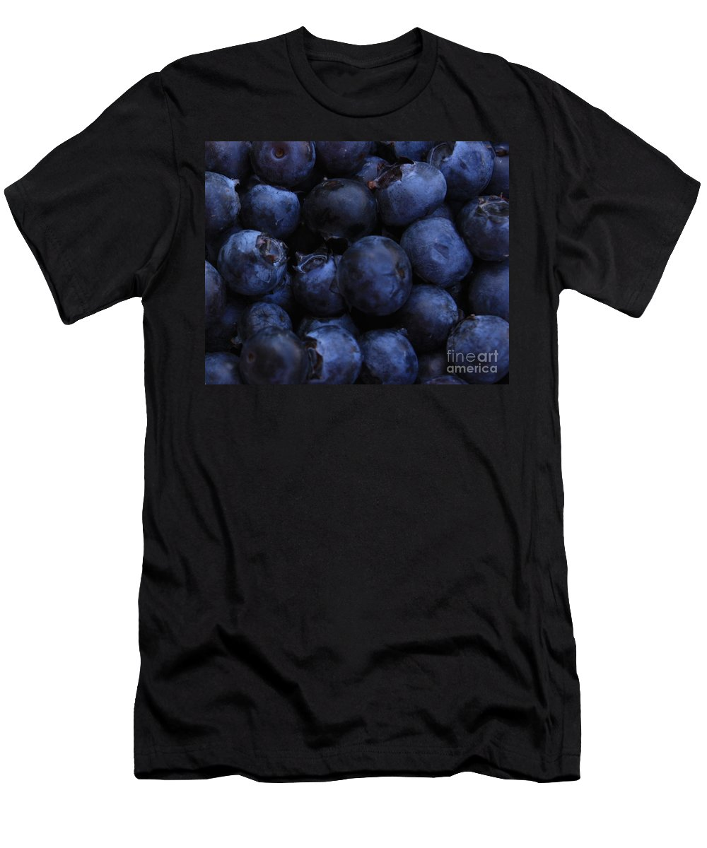 Blueberries Men's T-Shirt (Athletic Fit) featuring the photograph Blueberries Close-up - Horizontal by Carol Groenen
