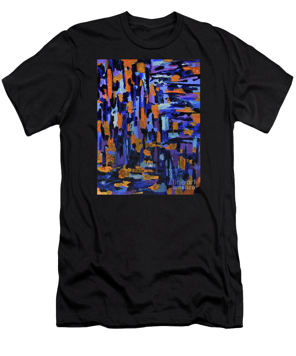 Abstract Men's T-Shirt (Athletic Fit) featuring the painting Blueberry Cobbler by Kafia Haile