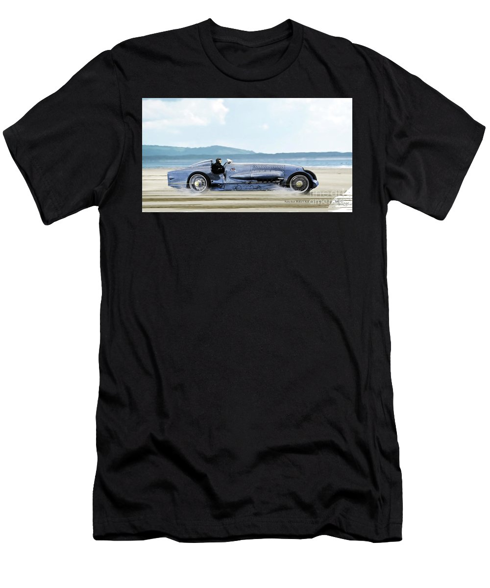 Bluebird Ii Men's T-Shirt (Athletic Fit) featuring the mixed media Bluebird II, 1928, World Record Land Speed Record At Pendine Sands, Wales, 178.88 Mph by Thomas Pollart