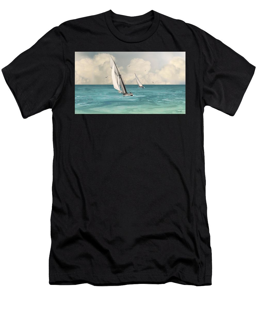 Bluewater Men's T-Shirt (Athletic Fit) featuring the digital art Bluewater Cruising Sailboats by IM Spadecaller