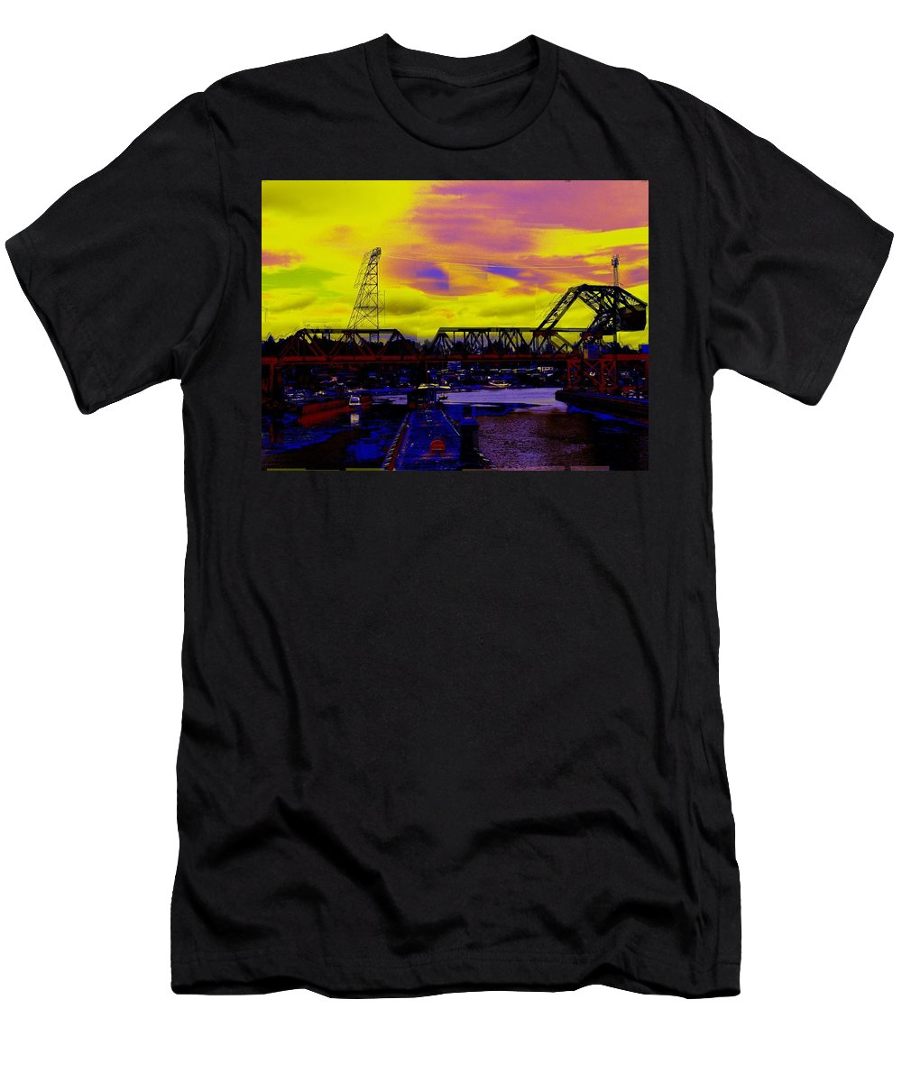 Seattle Men's T-Shirt (Athletic Fit) featuring the photograph Bnsf Trestle At Salmon Bay by Tim Allen