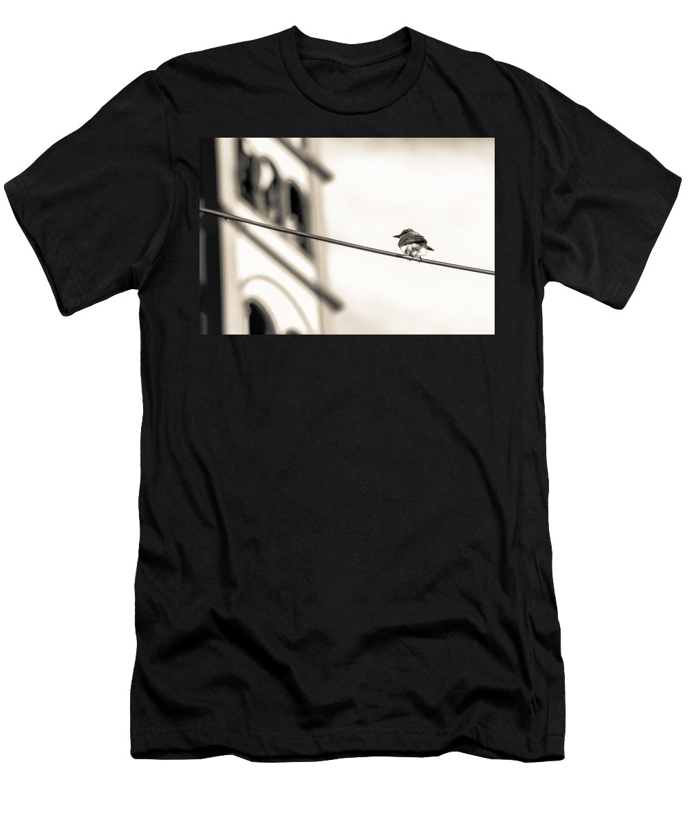 Yellow Bird Men's T-Shirt (Athletic Fit) featuring the photograph Bnw Bird - San Salvador I by Totto Ponce