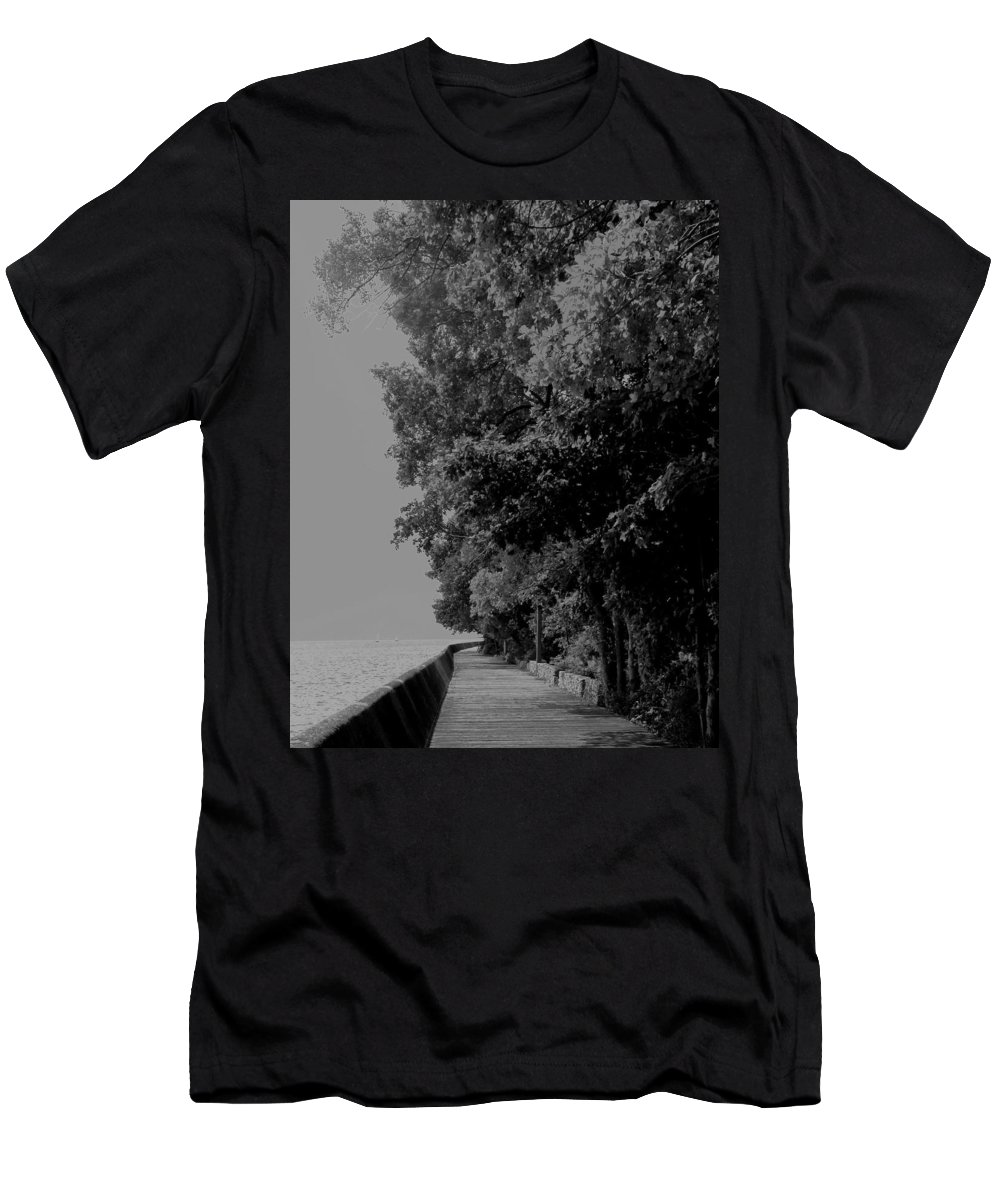 Black And White Men's T-Shirt (Athletic Fit) featuring the photograph Boardwalk by Ian MacDonald