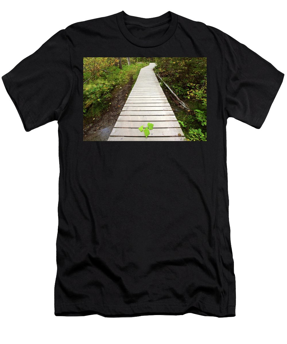 Bushes Men's T-Shirt (Athletic Fit) featuring the digital art Boardwalk To Backguard Falls In British Columbia by Mark Duffy