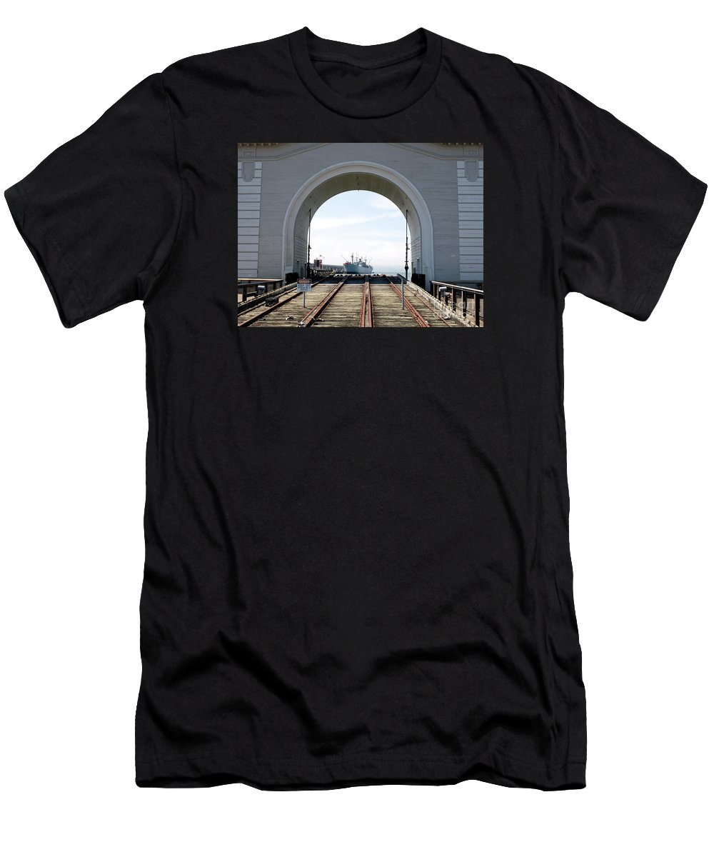 Railway Tracks Men's T-Shirt (Athletic Fit) featuring the photograph Boat In The Arch by Jim Macdonald