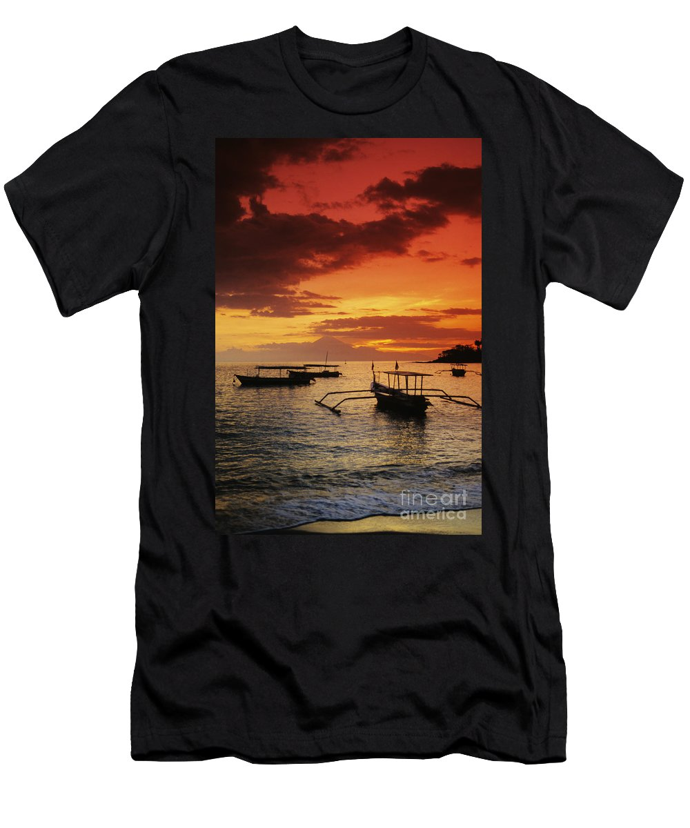 Boat Men's T-Shirt (Athletic Fit) featuring the photograph Boats At Senggigi by Gloria & Richard Maschmeyer - Printscapes