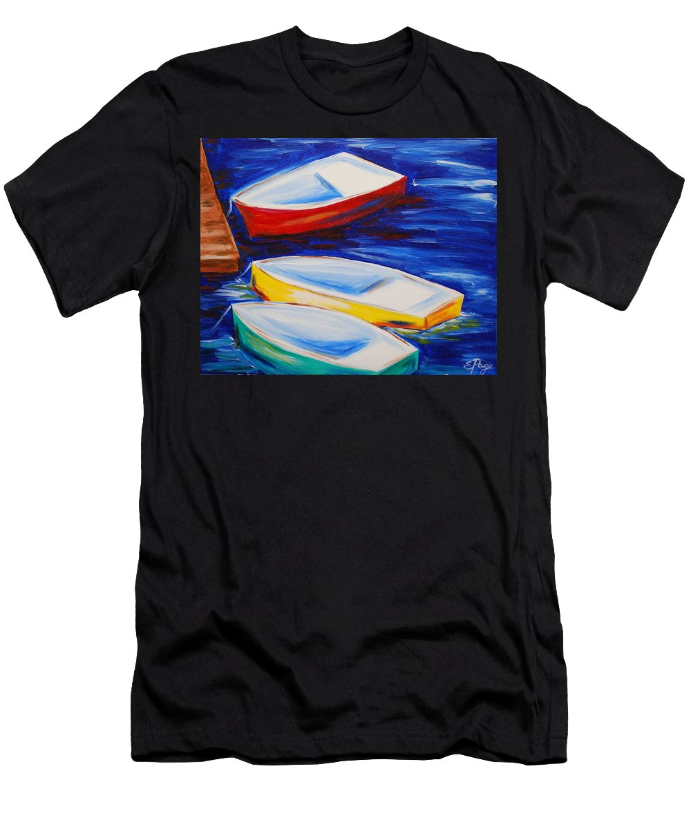 Boat Men's T-Shirt (Athletic Fit) featuring the painting Boats At The Dock by Emily Page