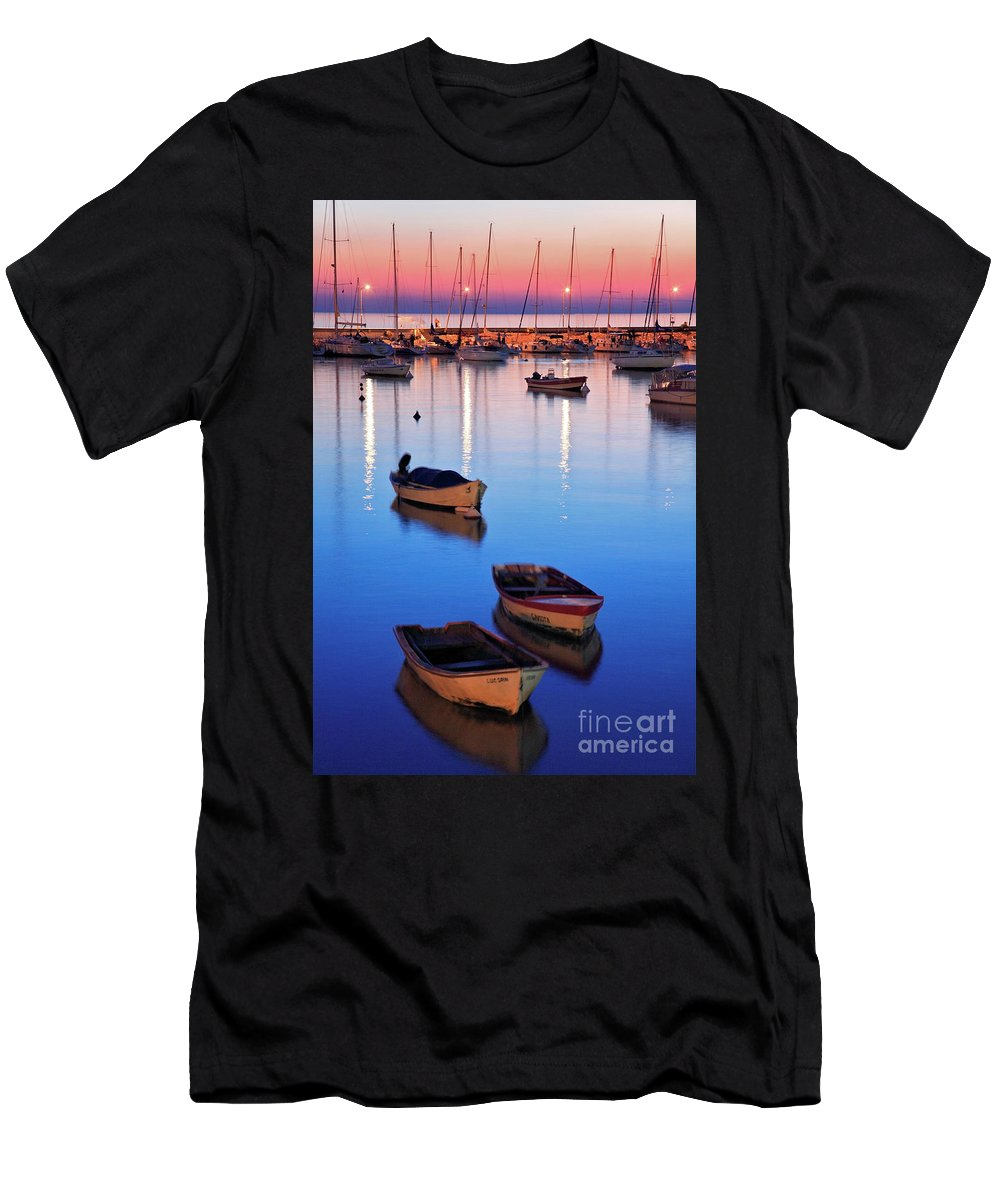 Colonia Men's T-Shirt (Athletic Fit) featuring the photograph Boats by Bernardo Galmarini